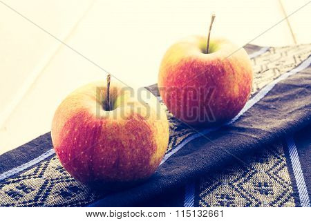Vintage Photo Of Two Apples On The Cloth