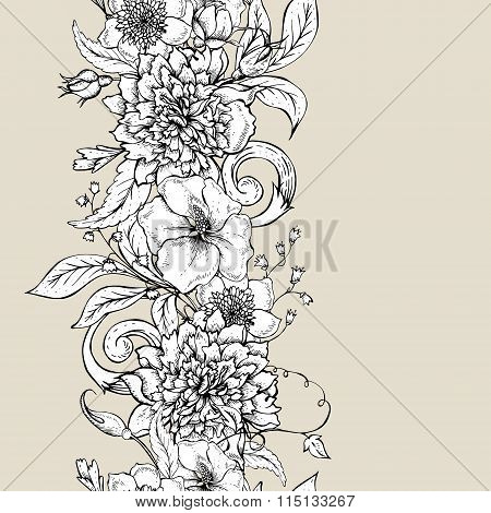 Monochrome seamless border with blooming peony