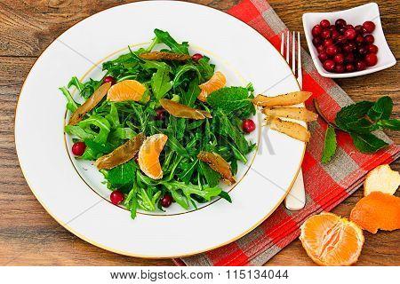 Salad of Arugula, Mandarin and Pomegranate