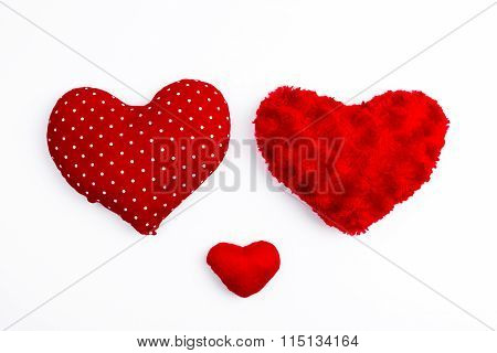Three Red Valentine Hearts Isolated On White