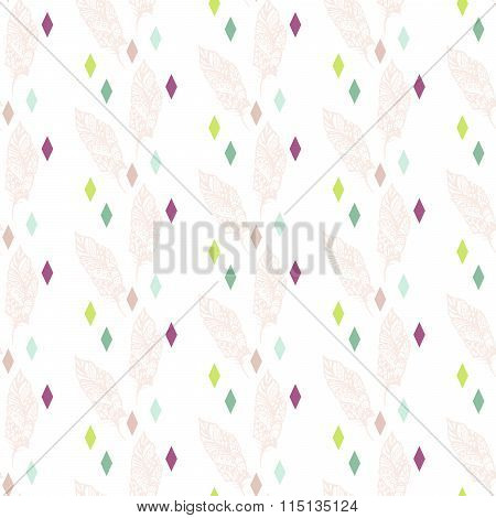 Beige boho feathers with colorful rhombs pattern.
