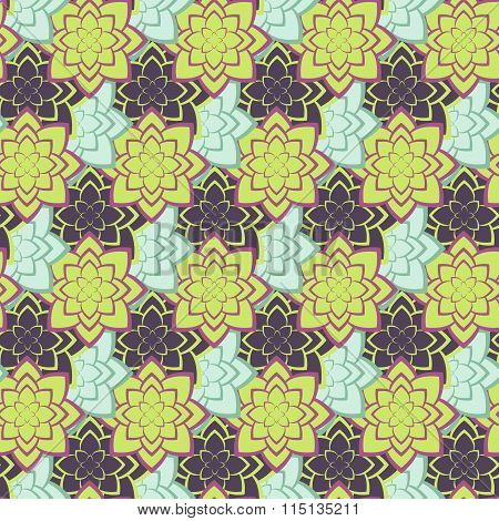 Succulent green and purple seamless pattern.