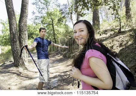 Hiking In The Forest In Summer