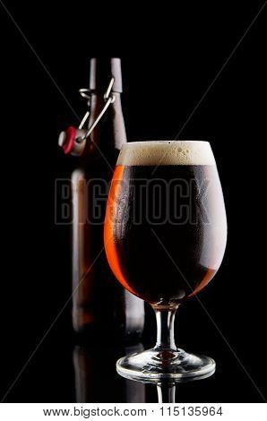 Beer In Glass On A Black Background