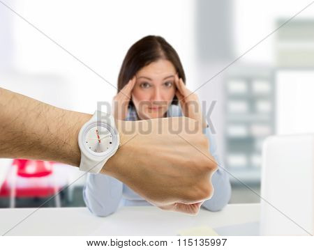 Woman Stressed By The Punctuality At The Office