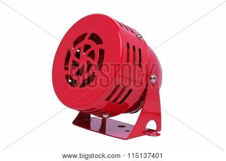 Red Motor Siren Isolated On White Background.