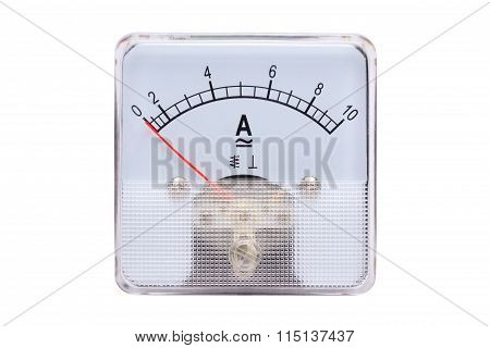 Analog Ammeters Isolated On White Background.