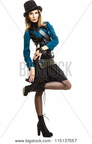 Cool Girl In Steampunk Style.