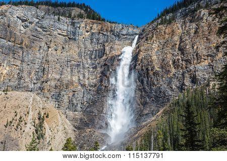 Rocky Mountains of Canada. Yoho National Park. Gorgeous full-flowing waterfall Takakkaw Falls