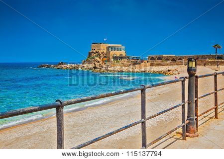 Ancient palace from the Roman period on Mediterranean coast. National Park Caesarea, Israel