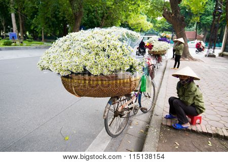White daisy flower vendor in a street in Hanoi, Vietnam