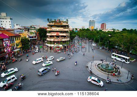 Hanoi old quarter at sunset in long exposure