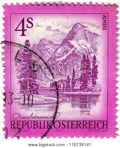 Austria - Circa 1973: A Postage Stamp Printed In Austria, Shows The Lake Almsee, From The Series