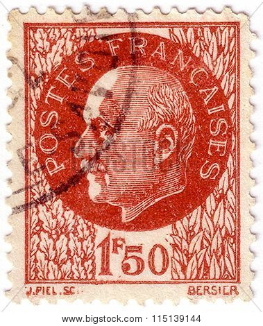 France - Circa 1941: A Stamp Printed In France Shows Marshal Petain, Circa 1941.