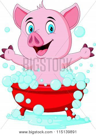 Vector illustration of Cartoon pig bathing waving hand