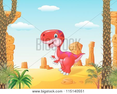 Cartoon happy dinosaur with desert background