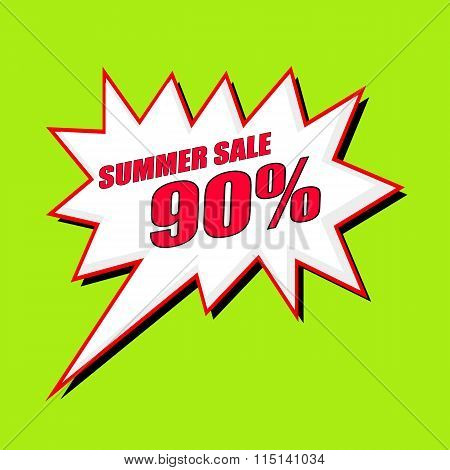 Summer Sale 90 Percent Wording Speech Bubble