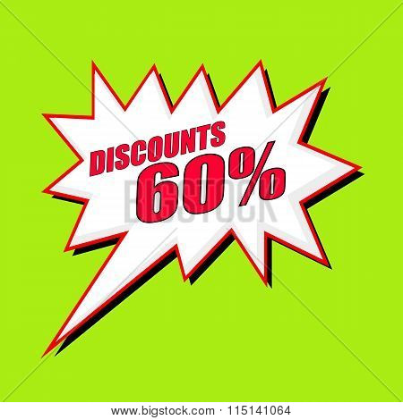 Discounts 60 Percent Wording Speech Bubble