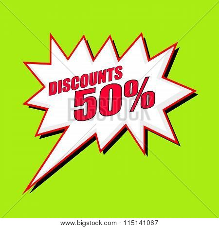 Discounts 50 Percent Wording Speech Bubble