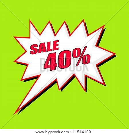 Sale 40 Percent Wording Speech Bubble