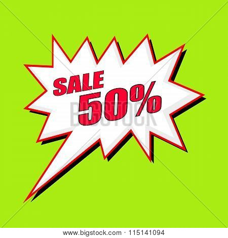 Sale 50 Percent Wording Speech Bubble