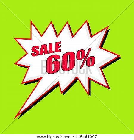 Sale 60 Percent Wording Speech Bubble