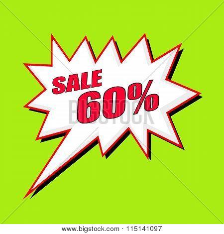 Sale 60 Percent Wording Speech Bubble