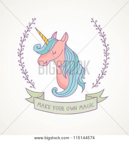 cute magic unicon and rainbow poster, greeting card