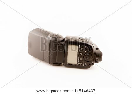 Photo camera flash isolated on white background.