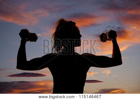 Silhouette Of Upper Body Of Woman Flexing