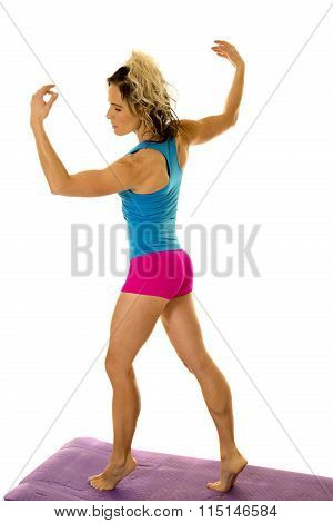 Woman Blue Tank And Pink Shorts Fitness Back Look Side