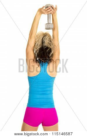 Woman Blue Tank And Pink Shorts Fitness Back Weight Over Head