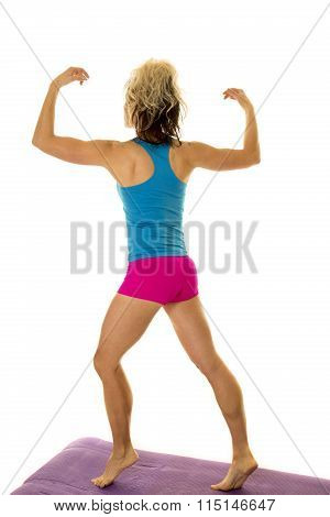 Woman Blue Tank And Pink Shorts Fitness Back Arms Up