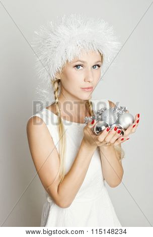 Elegant blonde, christmas gifts