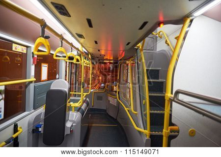 HONG KONG - MAY 05, 2015: lower deck of double-decker bus in Hong Kong. A double-decker bus is a bus that has two storeys or decks.