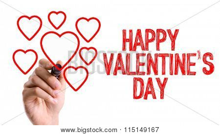 Hand with marker writing: Happy Valentines Day