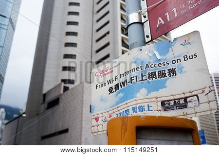 HONG KONG - MAY 05, 2015: plate with information about wi-fi internet access. Wi-Fi is a local area wireless computer networking technology that allows electronic devices to connect to the network.