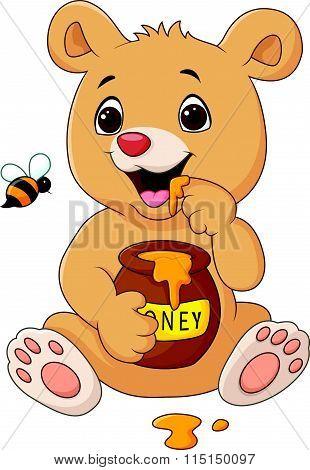 Cartoon funny baby bear holding honey pot isolated on white background