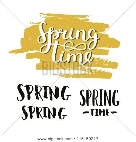 Vector handdrawn lettering Spring time