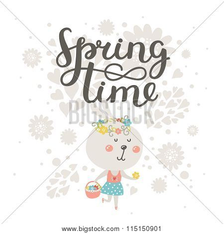 Cute card Spring time with rabbit