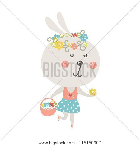 Cute rabbit with basket and flowers