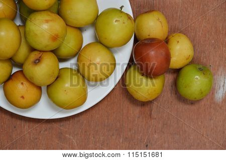 ripen red Chinese jujube on dish