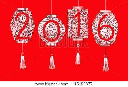 Happy Chinese new year 2016. Hand drawing Chinese or Japanese Lantern with line art pattern on red b