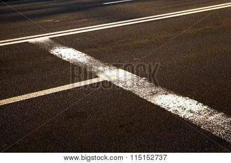 worn road markings