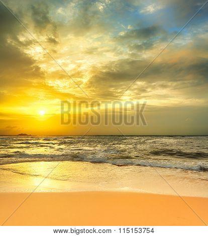 Sunset over the sea. Sri Lanka