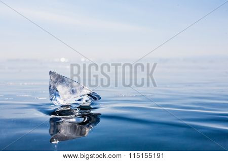 transparent piece of ice Lake Baikal.  blue ice.