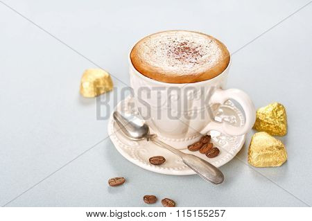 Cappuccino With Chocolate Candies