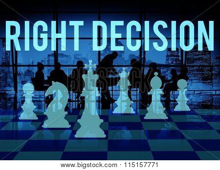 Right Decision Comparison Determination Direction Concept