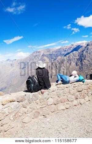 Tourists in Colca canyon, Peru