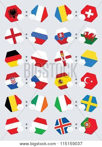 Euro football competition team flags.